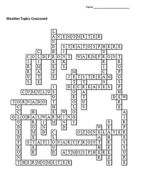 weather unit crossword puzzle by science from murf llc tpt. Black Bedroom Furniture Sets. Home Design Ideas