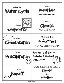 Weather Unit Flash Cards
