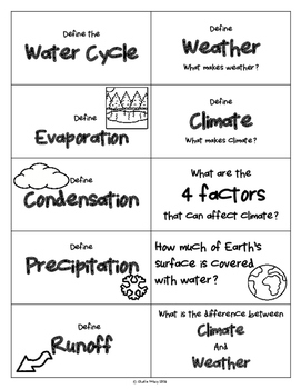 Weather Unit Flash Cards