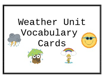 Weather Unit Vocabulary Cards