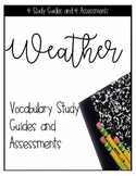 Weather Unit Vocabulary Quizzes, Study Guides, and Word Wall Printable