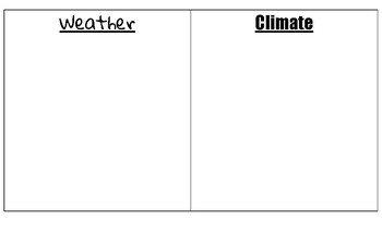 Weather VS Climate notes and sort