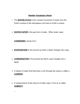 Weather Vocabulary 1 Guided Notes