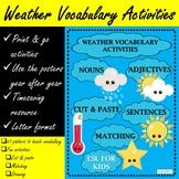 Weather Vocabulary Activities and Flashcards (ESL/ELA)