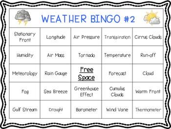 Weather Vocabulary BINGO Review Game