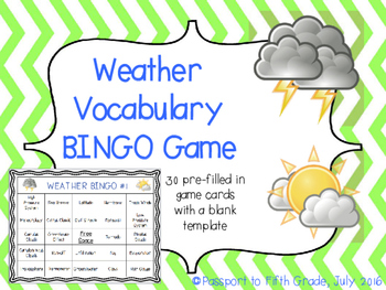Weather Vocabulary BINGO Review Game