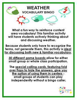Weather Vocabulary Bingo