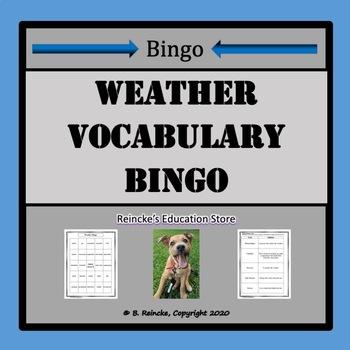 Weather Vocabulary Bingo (30 pre-made cards!)