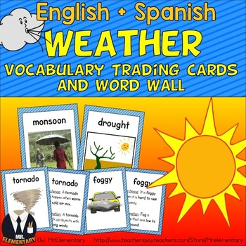 Weather Vocabulary Trading Cards and Word Wall by Mr Elementary | TpT