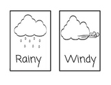 Weather Vocabulary Cards (black and white outlines)