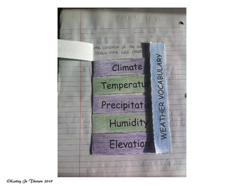 Weather Vocabulary Foldable