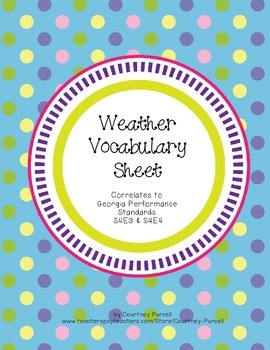 Weather Vocabulary Graphic Organizer