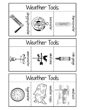 Weather Vocabulary Interactive Notebook Foldables