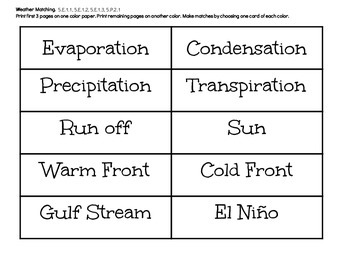 Weather Vocabulary Match Game