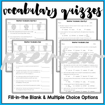 Weather Vocabulary Mats, Study Slips, and Quizzes