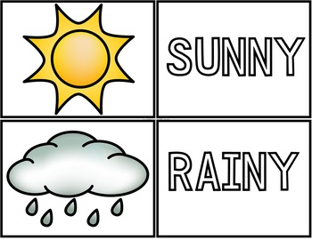 Weather (sunny, rainy, cloudy, snowy, windy, partly cloudy)