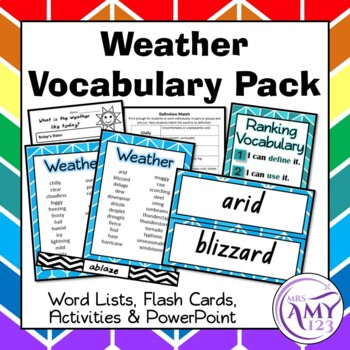 Weather Vocabulary Pack- Word Lists, Flash Cards & Activities