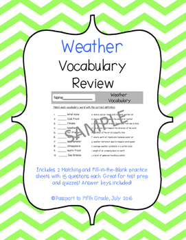 Weather Vocabulary Review Sheets