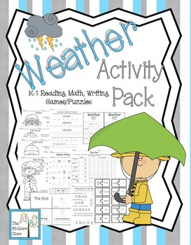 Weather Fun Activity Pack Set Reading Math & Writing