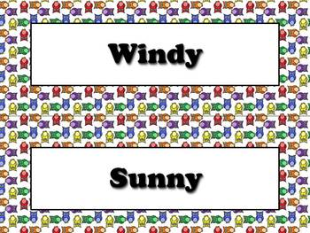 Weather Vocabulary Strips for Calendar - Owls Theme