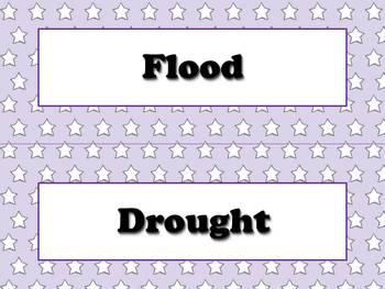 Calendar Vocabulary Strips Bundle: Weather Storms Seasons Superstars Theme