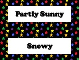 Calendar Vocabulary Strips: Weather Storms Seasons Superstars Theme