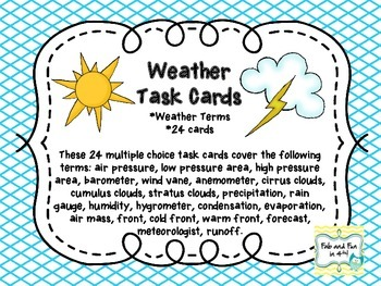 Weather Vocabulary Task Cards