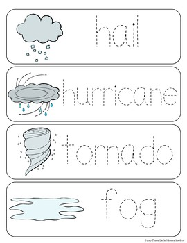 Weather Vocabulary Word Wall Cards plus Write and Wipe version