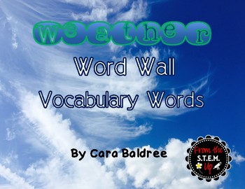 Weather Vocabulary Word Wall Words with Pictures  & Activities