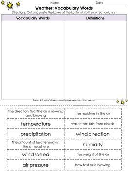 Weather: Vocabulary Words Cut and Paste Activity #2 - Weather Conditions