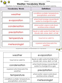 Weather: Vocabulary Words Cut and Paste Activity #1 - King Virtue's Classroom