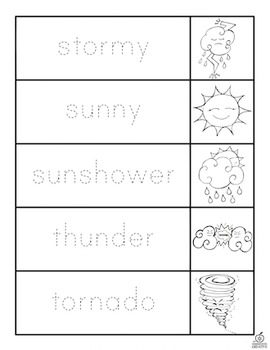 Weather Vocabulary Words Flip Book: Trace, Cut, and Color