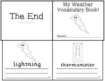 Weather Vocabulary Writing Practice Reader MiniBook