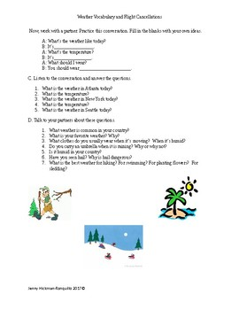Weather Vocabulary and Flight Cancellation Lesson Plan and Materials