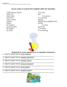 Weather Vocabulary with Activities & Gustar