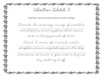 Weather Watch Cursive Task Cards