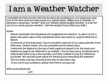 Weather Watcher Calendar for 2016-2017 Science and S.S. standards
