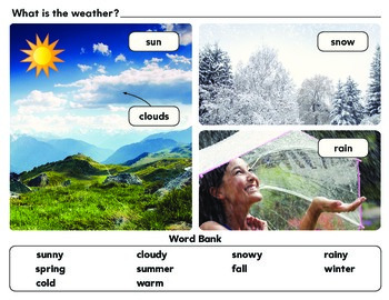 Weather Watcher's Journal & Picture Poster -Word Bank Season Temperature drawing