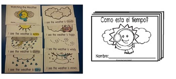 Weather Watching coloring reading booklets Eng. and Spanish cscope common core