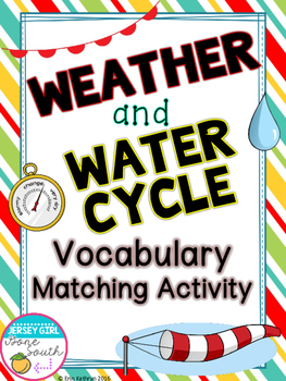 Weather & Water Cycle Matching Vocabulary Activity - Set of 36