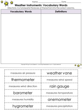 Weather: Weather Instruments Vocabulary Words Cut and Paste Activity