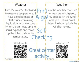Weather & Weather Tools Task Cards with QR Codes