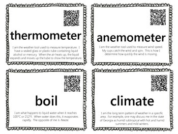 Weather & Tools Word Wall {with QR Codes}