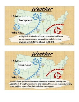 Weather - Weather Vocabulary - Weather I Have... Who Has...