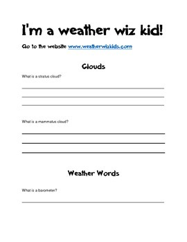Weather Wiz Kid Research Guide
