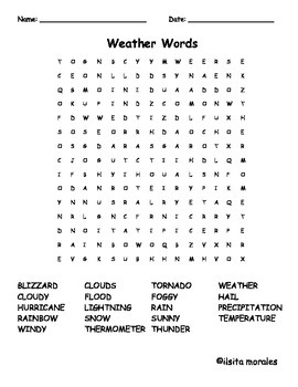 Weather Word Search/ Tiempo - English and Spanish
