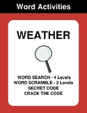 Weather - Word Search Puzzles, Word Scramble,  Secret Code,  Crack the Code
