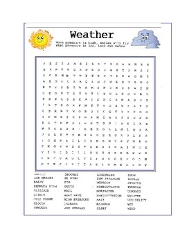 Weather Word Search or Wordsearch Puzzle