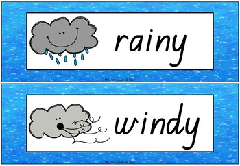 Weather Word Wall and Posters QLD Beginners Font