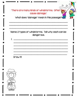 Weather Words by Gail Gibbons - Book Response Journal -Close Reading Format
